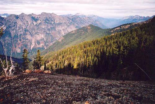 View northwest from the ridge...