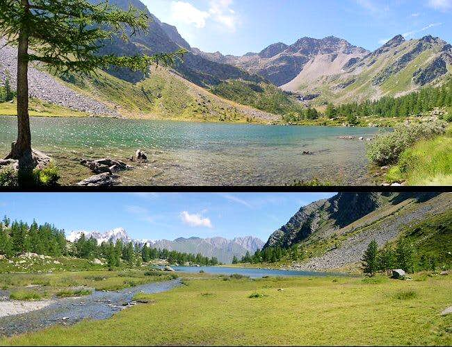 Two views of  Arpy lake <br> towards opposite directions