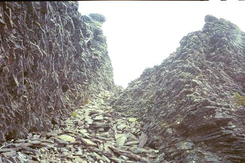 Looking up the rock gully and...