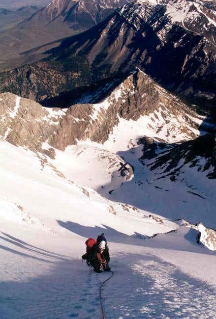 J Regnier on N face Mt Borah...