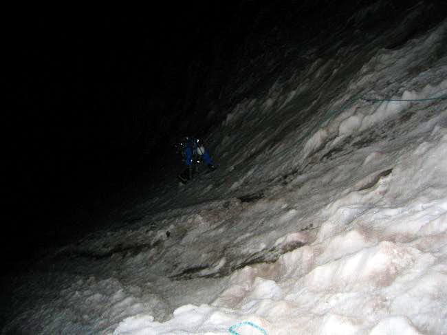Ascending the second pitch....