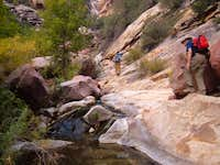 Hikers encounter boulders and...
