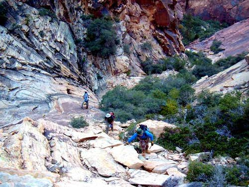 Hikers encounter the steep...