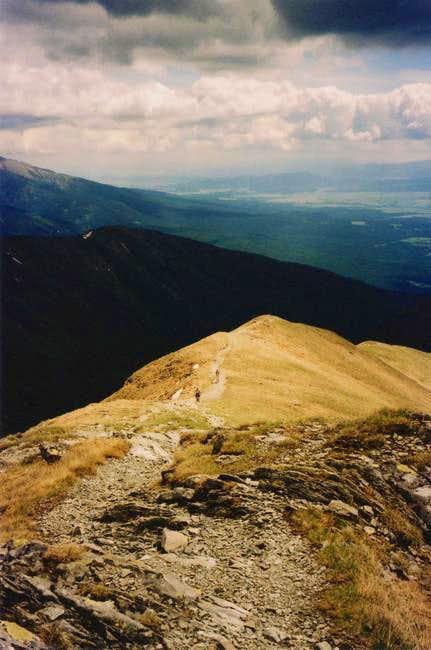 The south ridge to Bystrá in...