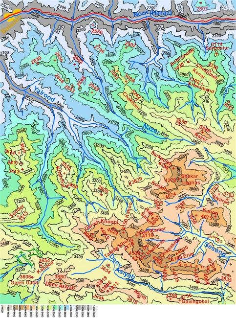 Map of Dokhaharan area peaks...