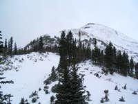 Looking up the east ridge to...