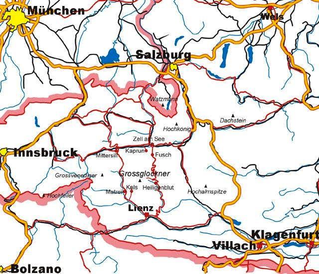 Grossglockner location map.
