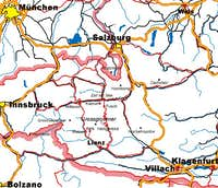 Grossglockner location map.