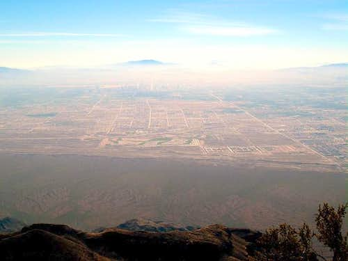 A view of hazy Las Vegas from...