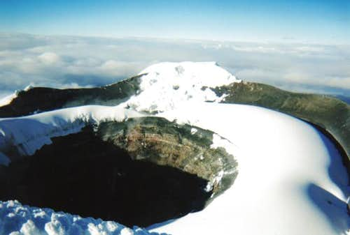 View of the crater rim and...