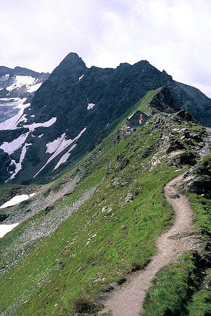 View to the ridge with hut...