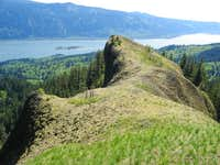 An exposed rocky ridge...