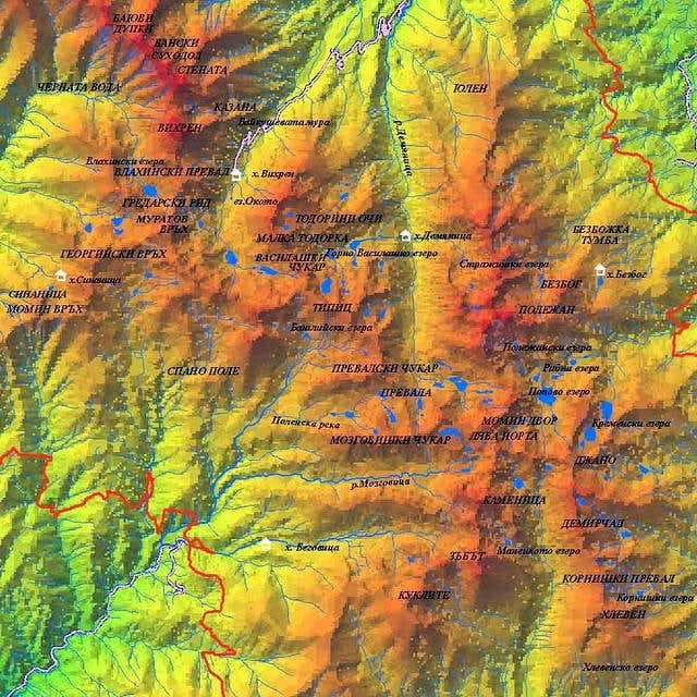 Relief Map of Pirin central...