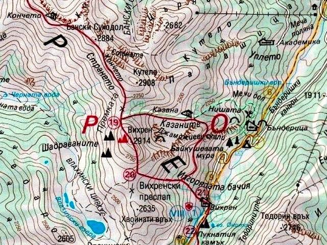 Map of Vihren (2914 m) area.