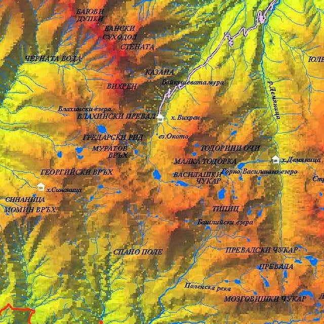 Relief map of Vihren (2914 m)...