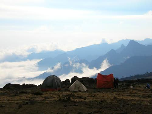 above the clouds at the shira...