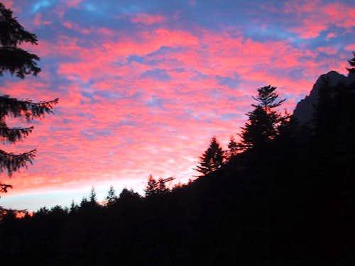 red skies at dawn