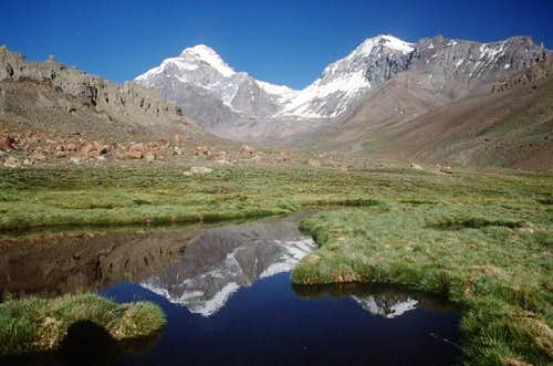 View of Aconcagua(left) and...