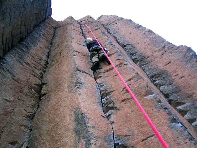 Jim climbing the fun crack of...