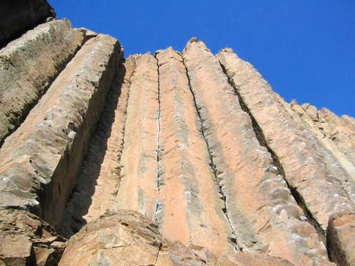 From right to left, the arete...