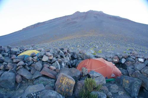 Basecamp with wind shelters,...