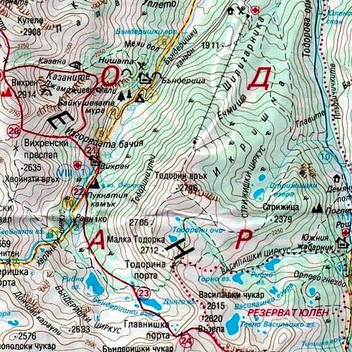 Map of Todorka (2746 m) area.