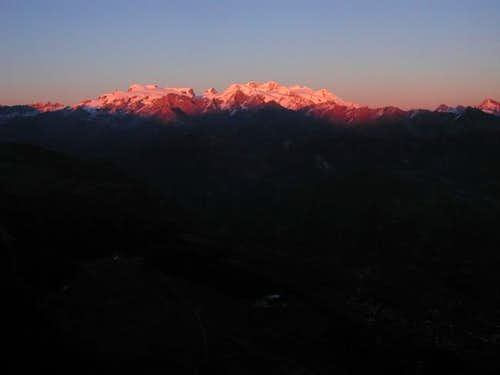 Last light on Monte Rosa...