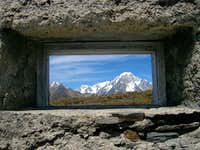 Mont Blanc seen from a small window