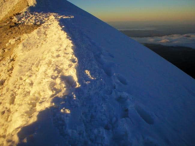 Sunrise at the summit ridge...
