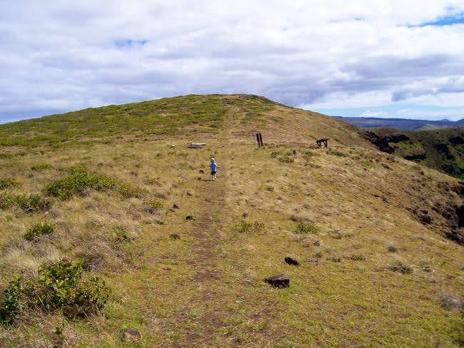 Hiking along the crater rim...