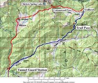 Cottonwood Pass route (red)...
