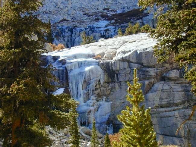 Frozen waterfall above...