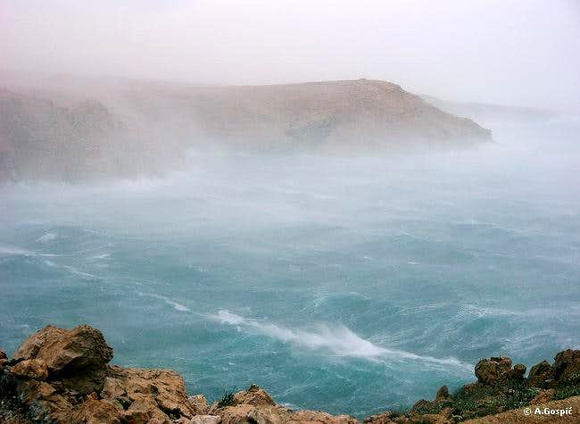 Hurricane force Bura in Pag channel