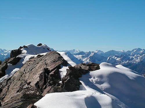 On the summit ridge to...