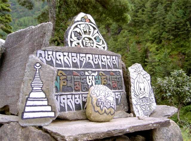 Stones carved with Buddhist...