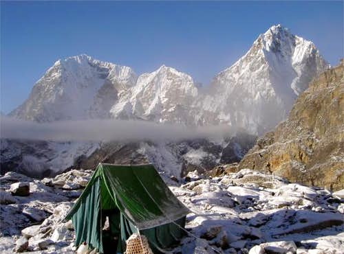 High camp, with Cholatse in...