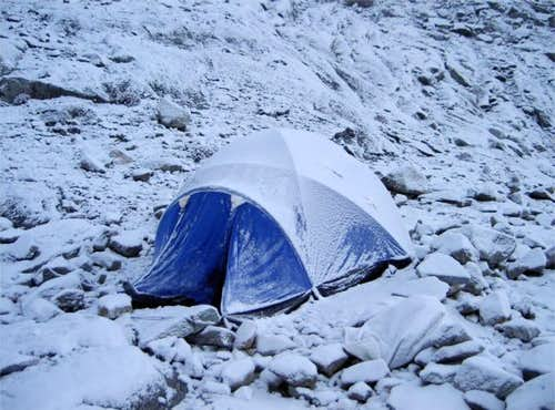A very cold high camp,...