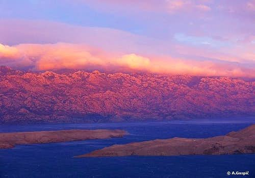 Velebit from Pag island at sunset