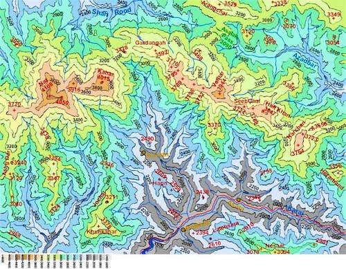 Map of Naz/Kahar area peaks...