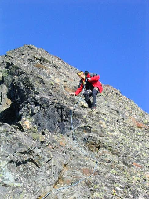 Downclimbing the summit...