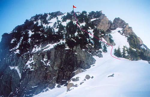The east summit (6,280+ ft)...