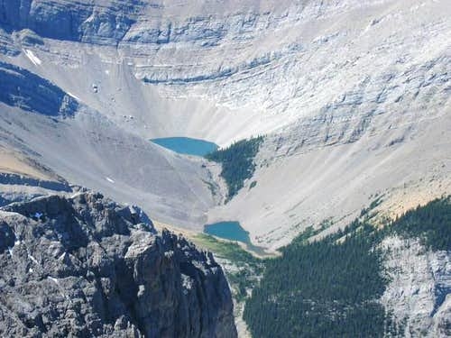 Two alpine tarns seen from...