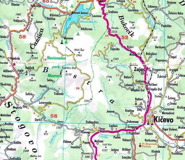 A map of the Bistra mountain