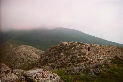 Hiking on the exposed ridge...