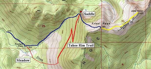 Freel Peak routes. Blue line...