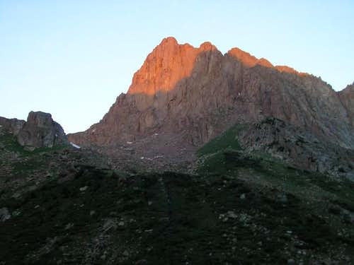 alpenglow on Pigeon\'s gnarly...