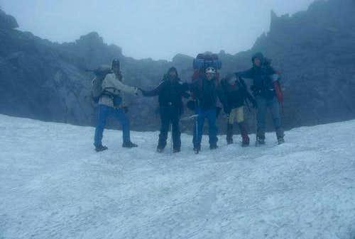 We followed the ice axe holes...