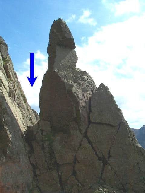 Napes Needle, arrow shows the...
