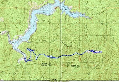 The route of the Stein Butte...