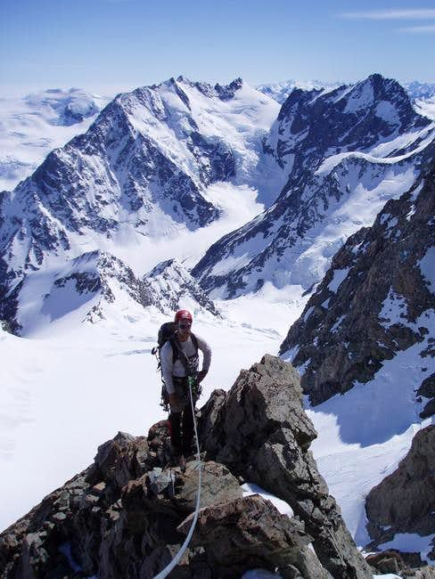 At the top of the buttress...
